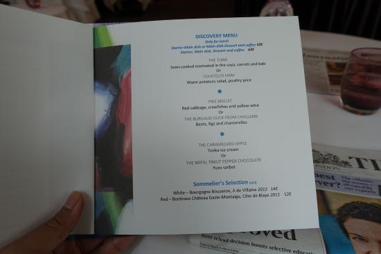 Le Diane : lunch menu