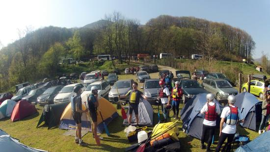 Arilje, Serbia: Zuta stena before the start of the Rzav rafting regatta