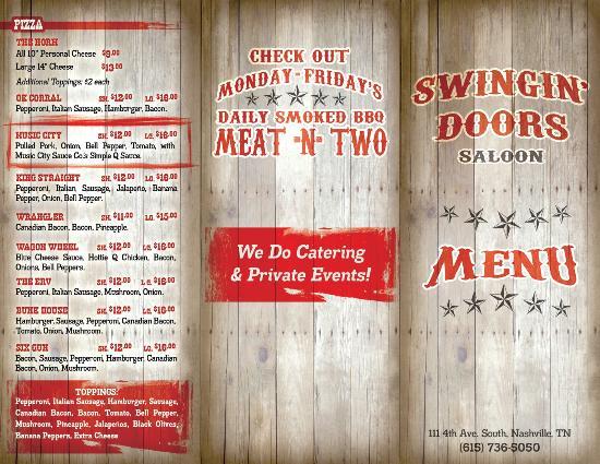 Swingin\u0027 Doors Saloon: Menu