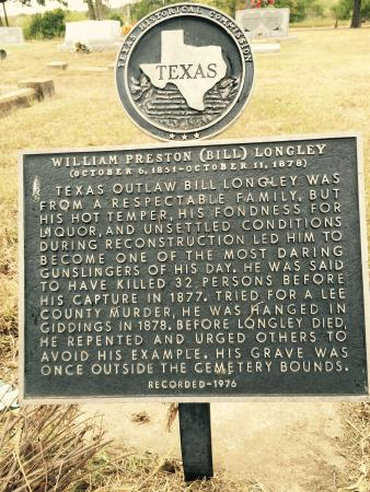 Bill Longley Historical Marker - Giddings City Cemetery