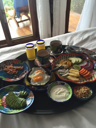 Encantada Tulum: Complimentary breakfast in bed.
