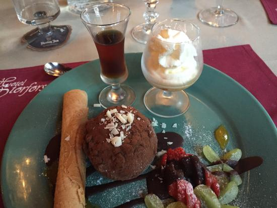 Storfors, Sweden: Dessert during dinner.