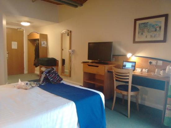 The room, with king sized bed