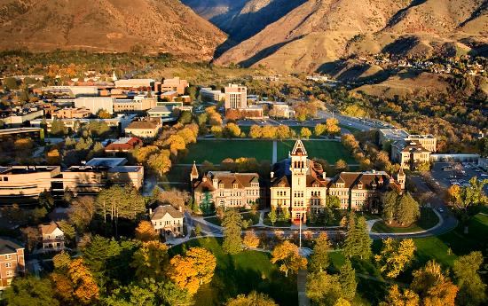 Fall on the campus of Utah State University in Logan, Utah