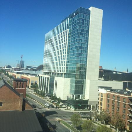 hilton garden inn nashville downtown convention center view of omni jotel from pool - Hilton Garden Inn Nashville Downtown