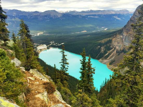 Fairmont Cau Lake Louise And Hotel View From Hiking Trail Near The