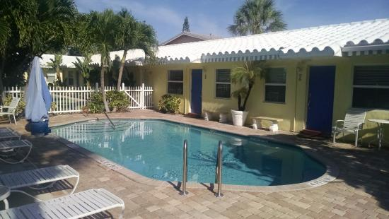 Bahama Beach Club Apartments: Pool area and showing the front doors to unite #1 and #2