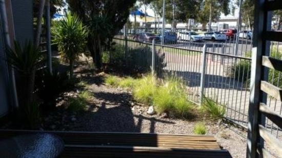 Majestic Oasis Apartments: Rear deck with vioew to park and water