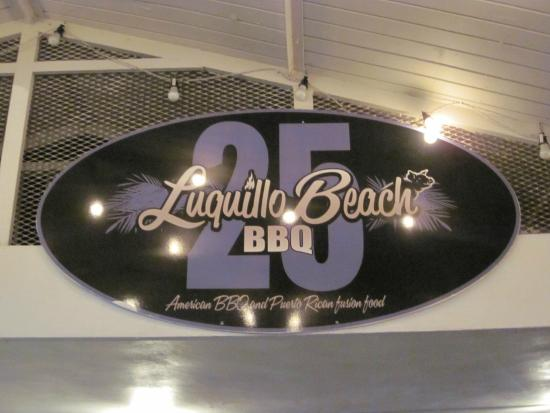 Luquillo Beach BBQ: Address sign