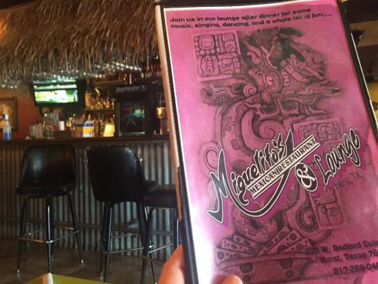 Miguelito's Mexican Restaurant: menu cover and bar.