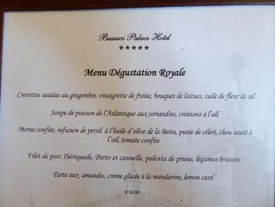 Bussaco Palace Hotel Restaurant Menu