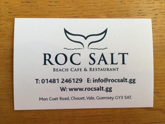 Business card picture of roc salt beach cafe and restaurant vale roc salt beach cafe and restaurant business card colourmoves