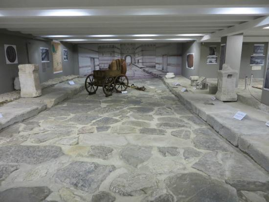 Stara Zagora, Bulgaria: The Roman  road in the basement.