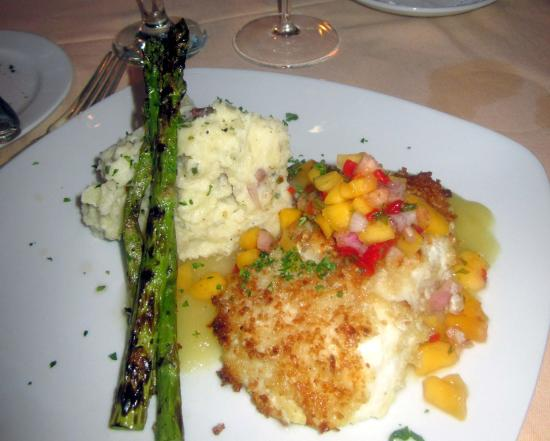 The Farmhouse At Turkey Hill: Macadamia Crusted Chilean Sea Bass with mango relish & pineapple-rum saucee