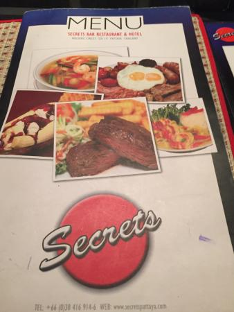 Secrets Bar, Nightclub & Hotel: Menu at Secrets