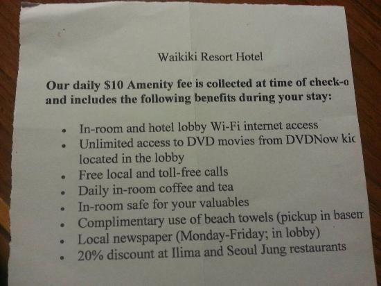 Waikiki Resort Hotel: アメニティーフィー