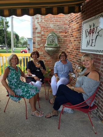 Beetz Me: Ladies sipping wine on the veranda.