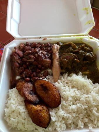 Curry Goat Stewed Peas Combo With White Rice And Plantains