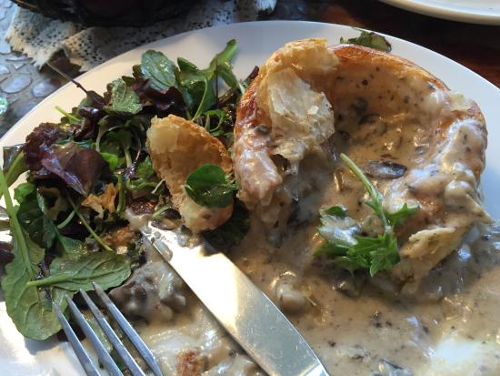 Patisserie Lenox: Delicious French Onion Soup and a mushroom benchmark type sauce on large vol au vent type pastry