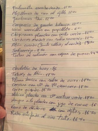 Martin Quiroga: Handwritten menu read personaly to customers by the chef
