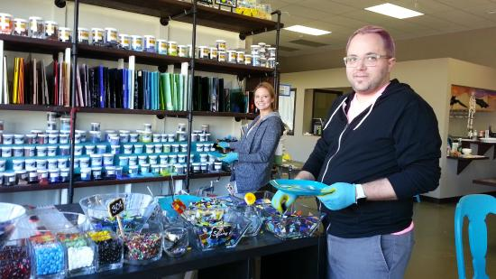 Delafield, WI: Choosing our glass pieces