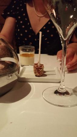 Honey Pana Cotta Chocolate Hazelnut Lollipops with Pop Rocks