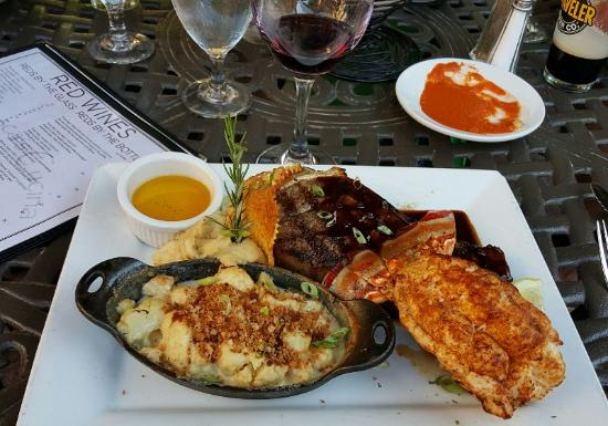 Francesca's Cucina : Lobster Tail, Filet Mignon and sides.