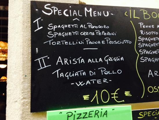 Il Boccale: Opções do menu