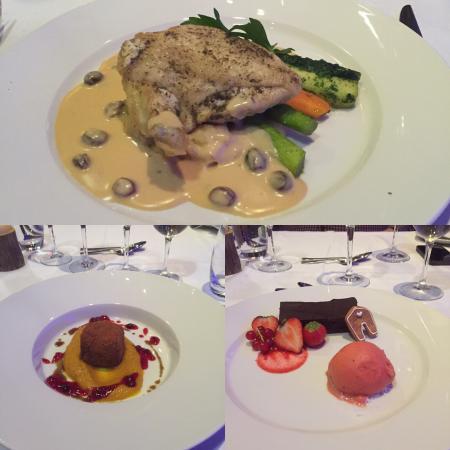 Panorama Hotell & Resort: Forrett: frityrstekt pinnekjøtt.  Hovedrett: kyllingbryst. Dessert: rødvinssjokoladekake m sorbe
