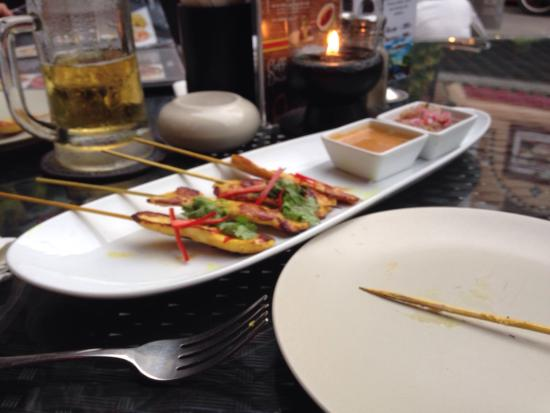 Two Chefs - Karon Beach: Just went in for two draft beers and a Thai chicken satay. Lovely grilled satay a little spicy w