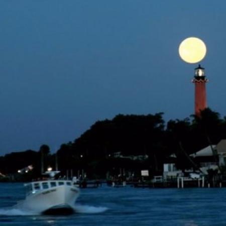 Moon over Jupiter Lighthouse