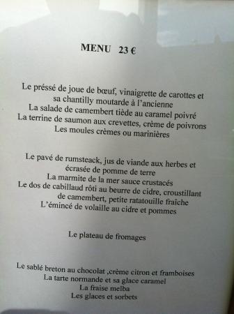 Saint-Maclou, Francia: menu