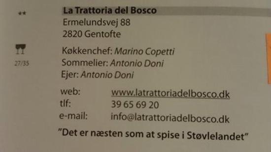 La Trattoria Del Bosco: A real Italian restaurant......
