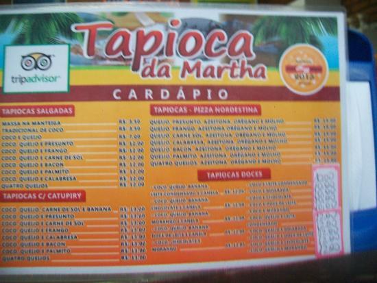 Nombre De Armario Judio ~ Cardápio Foto de Tapioca da Martha, Maragogi TripAdvisor