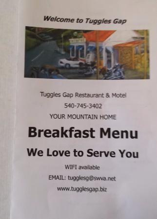 Floyd, VA: Breakfast menu at Tuggles Resturant