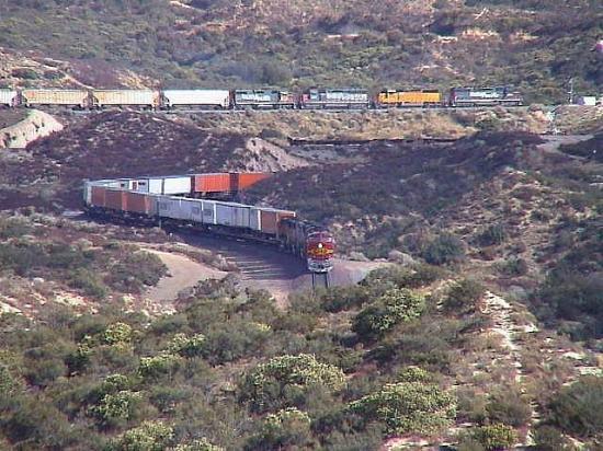 Cajon Pass: Lots of Rail Traffice to observe