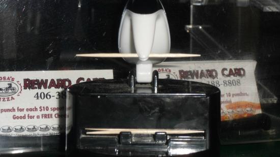 Beograd, MT: Front View of Penguin Toothpick Dispenser