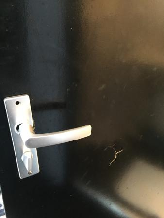Hotel De Looier: The door handle of the bathroom before you try to close it.