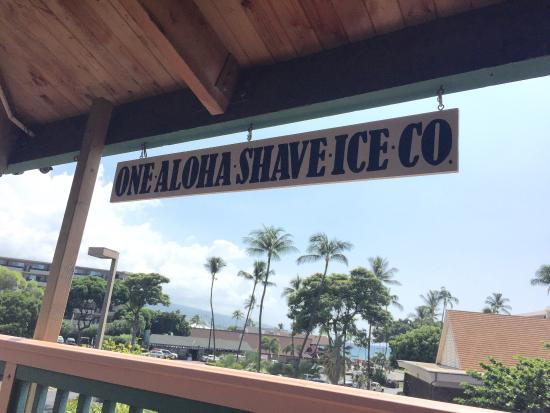 One Aloha Shave Ice Co: Sitting outside the shop with a nice breeze and view of the ocean.
