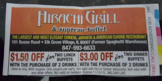 publicly printed coupon picture of hibachi grill buffet elk rh tripadvisor com hibachi buffet coupon gaithersburg hibachi buffet coupons tx