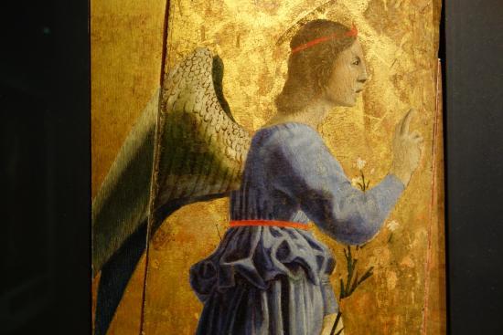Piero della Francesca: Angel of the Annunciation. Detail ...