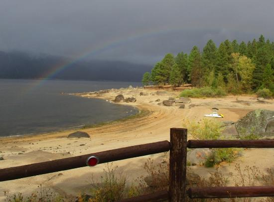 Cascade, ID: Rainbow from Campsite #27, Crown Point