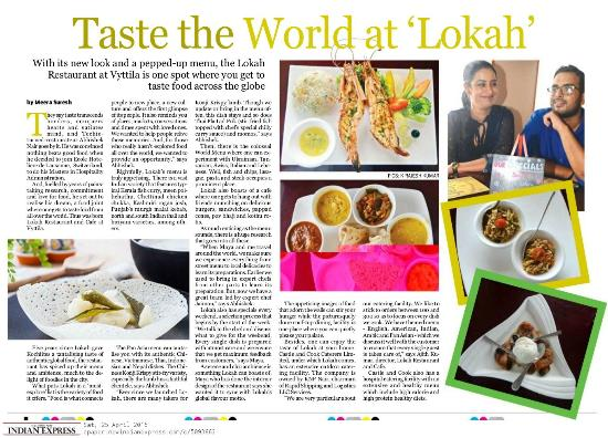 Lokah Restaurant & Cafe : an article in the New Indian Express