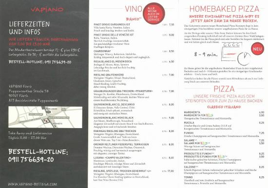 Take Away Flyer Part2 Picture Of Vapiano Fuerth Tripadvisor