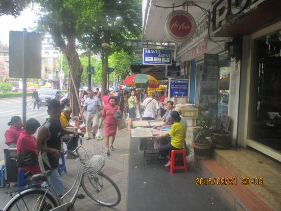 Triple Two Silom: morning activity on the street the hotel is on