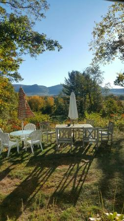 Farm by the River Bed and Breakfast with Stables: Tables by the Alpine Moose Cottage.