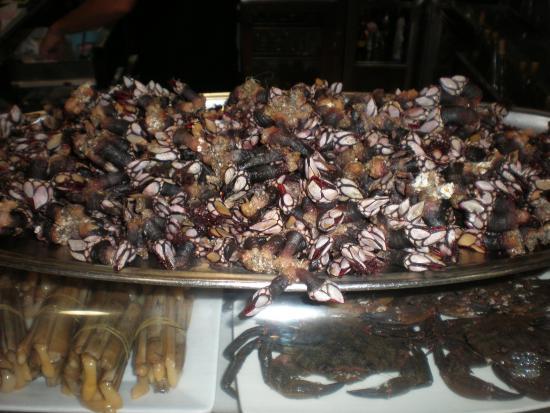 Arnuero, España: Los mariscos siempre presentes en el expositor del bar.