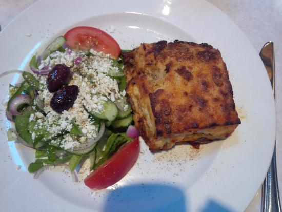 ela! Greek Taverna: Vegetarian mousaka with Greek salad
