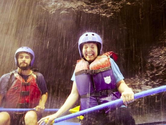 Pacuare River Tours: Going under one of the many waterfalls.