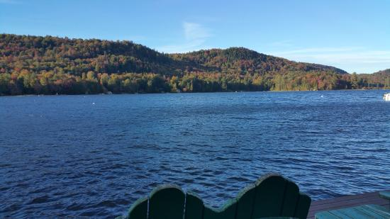 Eagle Bay, NY: The view of Big Moose Lake from the dock